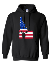 Load image into Gallery viewer, Pullover Hooded Sweatshirt Idaho Black Moose Vibrant Design High Quality Tight Knit Ring Spun Low Maintenance Cotton Printed With The Newest Available Color Transfer Technology