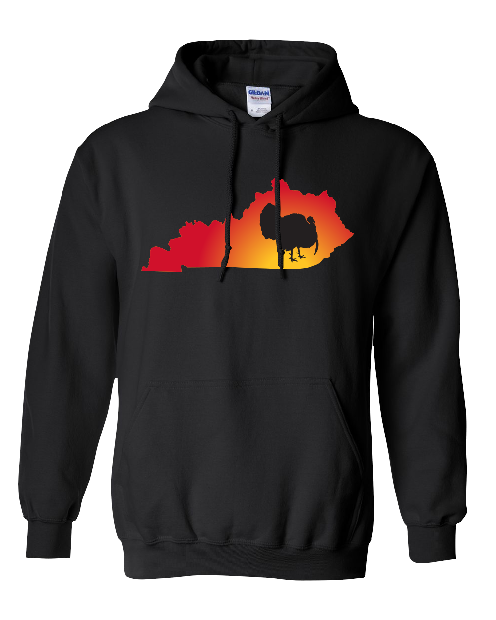 Pullover Hooded Sweatshirt Kentucky Black Turkey Vibrant Design High Quality Tight Knit Ring Spun Low Maintenance Cotton Printed With The Newest Available Color Transfer Technology