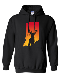 Pullover Hooded Sweatshirt Indiana Black Whitetail Deer Vibrant Design High Quality Tight Knit Ring Spun Low Maintenance Cotton Printed With The Newest Available Color Transfer Technology