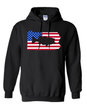 Load image into Gallery viewer, Pullover Hooded Sweatshirt Pennsylvania Black Large Mouth Bass Vibrant Design High Quality Tight Knit Ring Spun Low Maintenance Cotton Printed With The Newest Available Color Transfer Technology