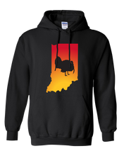 Load image into Gallery viewer, Pullover Hooded Sweatshirt Indiana Black Turkey Vibrant Design High Quality Tight Knit Ring Spun Low Maintenance Cotton Printed With The Newest Available Color Transfer Technology