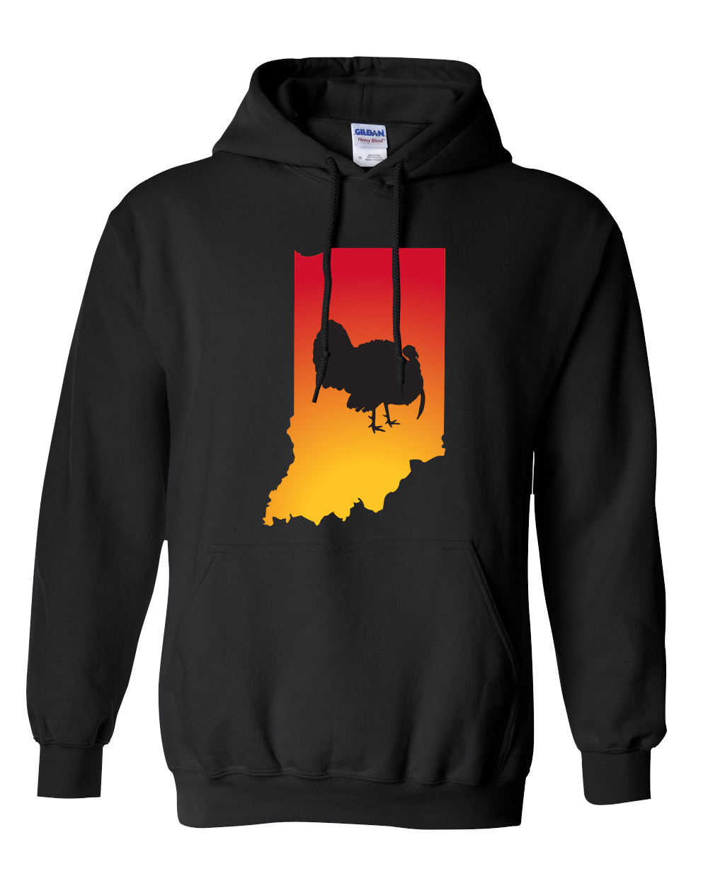 Pullover Hooded Sweatshirt Indiana Black Turkey Vibrant Design High Quality Tight Knit Ring Spun Low Maintenance Cotton Printed With The Newest Available Color Transfer Technology