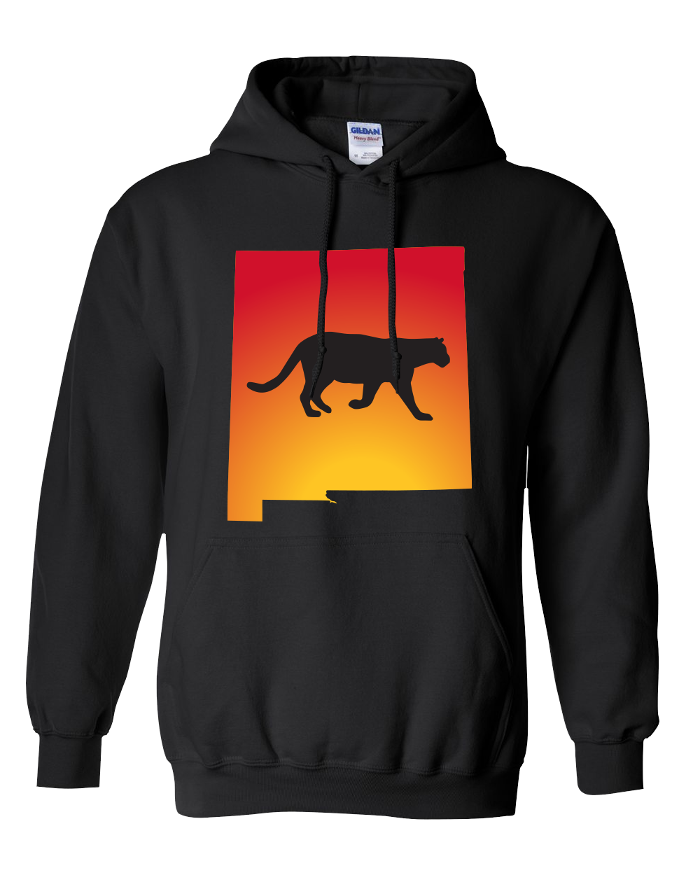 Pullover Hooded Sweatshirt New Mexico Black Mountain Lion Vibrant Design High Quality Tight Knit Ring Spun Low Maintenance Cotton Printed With The Newest Available Color Transfer Technology