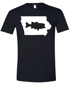 Short Sleeve T-Shirt Iowa Black Large Mouth Bass Vibrant Design High Quality Tight Knit Ring Spun Low Maintenance Cotton Printed With The Newest Available Color Transfer Technology