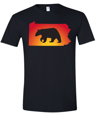 Short Sleeve T-Shirt Pennsylvania Black Black Bear Vibrant Design High Quality Tight Knit Ring Spun Low Maintenance Cotton Printed With The Newest Available Color Transfer Technology
