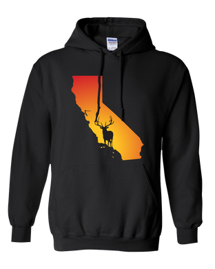 Pullover Hooded Sweatshirt California Black Elk Vibrant Design High Quality Tight Knit Ring Spun Low Maintenance Cotton Printed With The Newest Available Color Transfer Technology