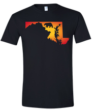 Load image into Gallery viewer, Short Sleeve T-Shirt Maryland Black Black Bear Vibrant Design High Quality Tight Knit Ring Spun Low Maintenance Cotton Printed With The Newest Available Color Transfer Technology
