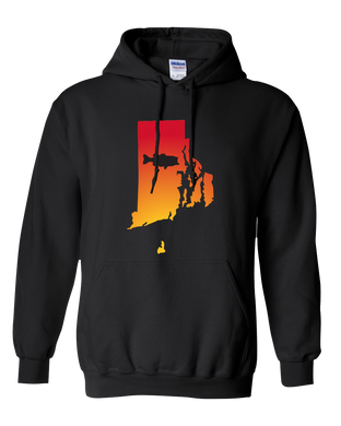 Pullover Hooded Sweatshirt Rhode Island Black Large Mouth Bass Vibrant Design High Quality Tight Knit Ring Spun Low Maintenance Cotton Printed With The Newest Available Color Transfer Technology