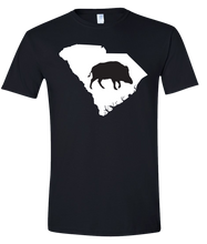 Load image into Gallery viewer, Short Sleeve T-Shirt South Carolina Black Wild Hog Vibrant Design High Quality Tight Knit Ring Spun Low Maintenance Cotton Printed With The Newest Available Color Transfer Technology