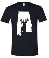 Load image into Gallery viewer, Short Sleeve T-Shirt Alabama Black Whitetail Deer Vibrant Design High Quality Tight Knit Ring Spun Low Maintenance Cotton Printed With The Newest Available Color Transfer Technology