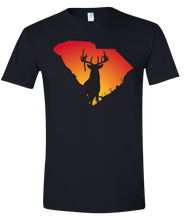 Load image into Gallery viewer, Short Sleeve T-Shirt South Carolina Black Whitetail Deer Vibrant Design High Quality Tight Knit Ring Spun Low Maintenance Cotton Printed With The Newest Available Color Transfer Technology