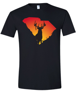 Short Sleeve T-Shirt South Carolina Black Whitetail Deer Vibrant Design High Quality Tight Knit Ring Spun Low Maintenance Cotton Printed With The Newest Available Color Transfer Technology