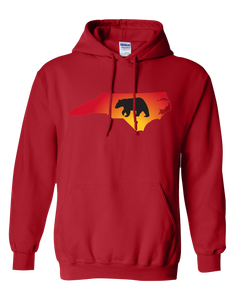 Pullover Hooded Sweatshirt North Carolina Red Black Bear Vibrant Design High Quality Tight Knit Ring Spun Low Maintenance Cotton Printed With The Newest Available Color Transfer Technology