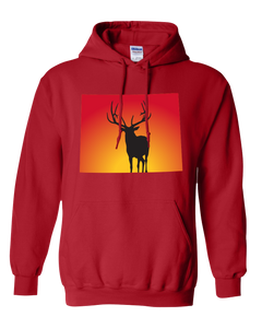 Pullover Hooded Sweatshirt Wyoming Red Elk Vibrant Design High Quality Tight Knit Ring Spun Low Maintenance Cotton Printed With The Newest Available Color Transfer Technology