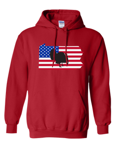 Pullover Hooded Sweatshirt Pennsylvania Red Turkey Vibrant Design High Quality Tight Knit Ring Spun Low Maintenance Cotton Printed With The Newest Available Color Transfer Technology