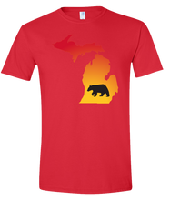 Load image into Gallery viewer, Short Sleeve T-Shirt Michigan Red Black Bear Vibrant Design High Quality Tight Knit Ring Spun Low Maintenance Cotton Printed With The Newest Available Color Transfer Technology