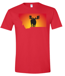 Short Sleeve T-Shirt Montana Red Moose Vibrant Design High Quality Tight Knit Ring Spun Low Maintenance Cotton Printed With The Newest Available Color Transfer Technology