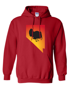 Pullover Hooded Sweatshirt Nevada Red Turkey Vibrant Design High Quality Tight Knit Ring Spun Low Maintenance Cotton Printed With The Newest Available Color Transfer Technology