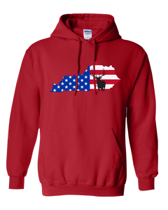 Pullover Hooded Sweatshirt Kentucky Red Elk Vibrant Design High Quality Tight Knit Ring Spun Low Maintenance Cotton Printed With The Newest Available Color Transfer Technology