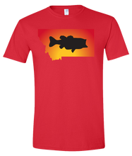 Load image into Gallery viewer, Short Sleeve T-Shirt Montana Red Large Mouth Bass Vibrant Design High Quality Tight Knit Ring Spun Low Maintenance Cotton Printed With The Newest Available Color Transfer Technology