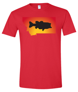 Short Sleeve T-Shirt Montana Red Large Mouth Bass Vibrant Design High Quality Tight Knit Ring Spun Low Maintenance Cotton Printed With The Newest Available Color Transfer Technology