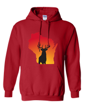 Load image into Gallery viewer, Pullover Hooded Sweatshirt Wisconsin Red Whitetail Deer Vibrant Design High Quality Tight Knit Ring Spun Low Maintenance Cotton Printed With The Newest Available Color Transfer Technology