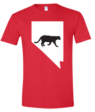 Load image into Gallery viewer, Short Sleeve T-Shirt Nevada Red Mountain Lion Vibrant Design High Quality Tight Knit Ring Spun Low Maintenance Cotton Printed With The Newest Available Color Transfer Technology