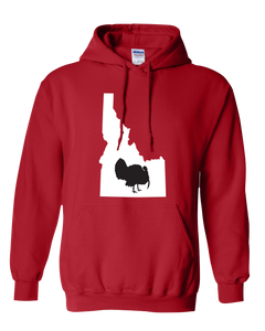 Pullover Hooded Sweatshirt Idaho Red Turkey Vibrant Design High Quality Tight Knit Ring Spun Low Maintenance Cotton Printed With The Newest Available Color Transfer Technology