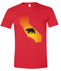 Short Sleeve T-Shirt California Red Black Bear Vibrant Design High Quality Tight Knit Ring Spun Low Maintenance Cotton Printed With The Newest Available Color Transfer Technology