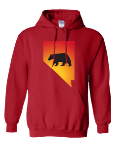 Pullover Hooded Sweatshirt Nevada Red Black Bear Vibrant Design High Quality Tight Knit Ring Spun Low Maintenance Cotton Printed With The Newest Available Color Transfer Technology