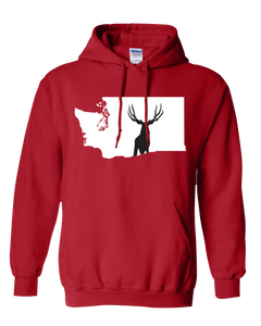 Pullover Hooded Sweatshirt Washington Red Mule Deer Vibrant Design High Quality Tight Knit Ring Spun Low Maintenance Cotton Printed With The Newest Available Color Transfer Technology
