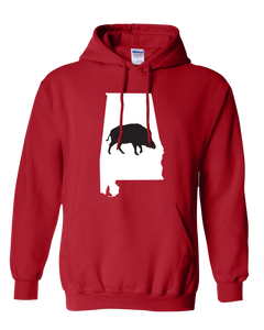 Pullover Hooded Sweatshirt Alabama Red Wild Hog Vibrant Design High Quality Tight Knit Ring Spun Low Maintenance Cotton Printed With The Newest Available Color Transfer Technology