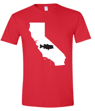 Load image into Gallery viewer, Short Sleeve T-Shirt California Red Large Mouth Bass Vibrant Design High Quality Tight Knit Ring Spun Low Maintenance Cotton Printed With The Newest Available Color Transfer Technology