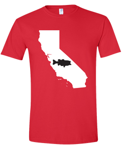 Short Sleeve T-Shirt California Red Large Mouth Bass Vibrant Design High Quality Tight Knit Ring Spun Low Maintenance Cotton Printed With The Newest Available Color Transfer Technology