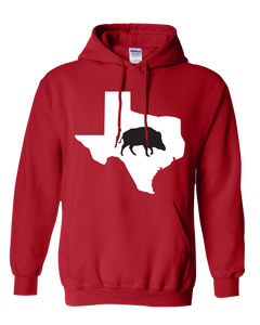 Pullover Hooded Sweatshirt Texas Red Wild Hog Vibrant Design High Quality Tight Knit Ring Spun Low Maintenance Cotton Printed With The Newest Available Color Transfer Technology