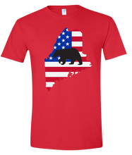 Load image into Gallery viewer, Short Sleeve T-Shirt Maine Red Black Bear Vibrant Design High Quality Tight Knit Ring Spun Low Maintenance Cotton Printed With The Newest Available Color Transfer Technology