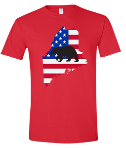 Short Sleeve T-Shirt Maine Red Black Bear Vibrant Design High Quality Tight Knit Ring Spun Low Maintenance Cotton Printed With The Newest Available Color Transfer Technology