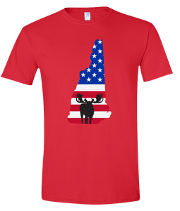 Short Sleeve T-Shirt New Hampshire Red Moose Vibrant Design High Quality Tight Knit Ring Spun Low Maintenance Cotton Printed With The Newest Available Color Transfer Technology