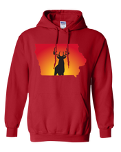 Load image into Gallery viewer, Pullover Hooded Sweatshirt Iowa Red Whitetail Deer Vibrant Design High Quality Tight Knit Ring Spun Low Maintenance Cotton Printed With The Newest Available Color Transfer Technology