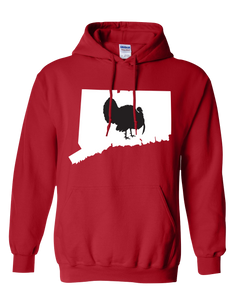 Pullover Hooded Sweatshirt Connecticut Red Turkey Vibrant Design High Quality Tight Knit Ring Spun Low Maintenance Cotton Printed With The Newest Available Color Transfer Technology