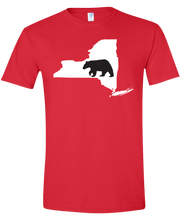 Load image into Gallery viewer, Short Sleeve T-Shirt New York Red Black Bear Vibrant Design High Quality Tight Knit Ring Spun Low Maintenance Cotton Printed With The Newest Available Color Transfer Technology