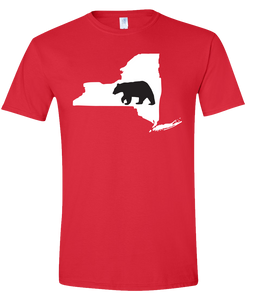 Short Sleeve T-Shirt New York Red Black Bear Vibrant Design High Quality Tight Knit Ring Spun Low Maintenance Cotton Printed With The Newest Available Color Transfer Technology