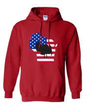Load image into Gallery viewer, Pullover Hooded Sweatshirt Wisconsin Red Turkey Vibrant Design High Quality Tight Knit Ring Spun Low Maintenance Cotton Printed With The Newest Available Color Transfer Technology
