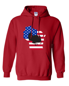 Pullover Hooded Sweatshirt Wisconsin Red Turkey Vibrant Design High Quality Tight Knit Ring Spun Low Maintenance Cotton Printed With The Newest Available Color Transfer Technology