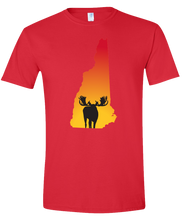Load image into Gallery viewer, Short Sleeve T-Shirt New Hampshire Red Moose Vibrant Design High Quality Tight Knit Ring Spun Low Maintenance Cotton Printed With The Newest Available Color Transfer Technology