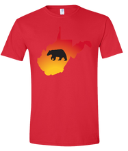 Load image into Gallery viewer, Short Sleeve T-Shirt West Virginia Red Black Bear Vibrant Design High Quality Tight Knit Ring Spun Low Maintenance Cotton Printed With The Newest Available Color Transfer Technology