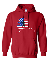 Load image into Gallery viewer, Pullover Hooded Sweatshirt Alaska Red Brown Bear Vibrant Design High Quality Tight Knit Ring Spun Low Maintenance Cotton Printed With The Newest Available Color Transfer Technology