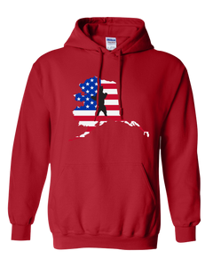 Pullover Hooded Sweatshirt Alaska Red Brown Bear Vibrant Design High Quality Tight Knit Ring Spun Low Maintenance Cotton Printed With The Newest Available Color Transfer Technology