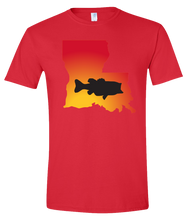 Load image into Gallery viewer, Short Sleeve T-Shirt Louisiana Red Large Mouth Bass Vibrant Design High Quality Tight Knit Ring Spun Low Maintenance Cotton Printed With The Newest Available Color Transfer Technology