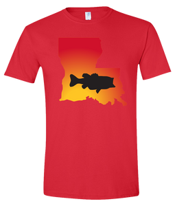 Short Sleeve T-Shirt Louisiana Red Large Mouth Bass Vibrant Design High Quality Tight Knit Ring Spun Low Maintenance Cotton Printed With The Newest Available Color Transfer Technology